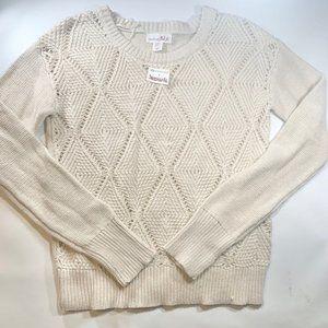 Shrinking Violet Cream Knit Sweater Medium New